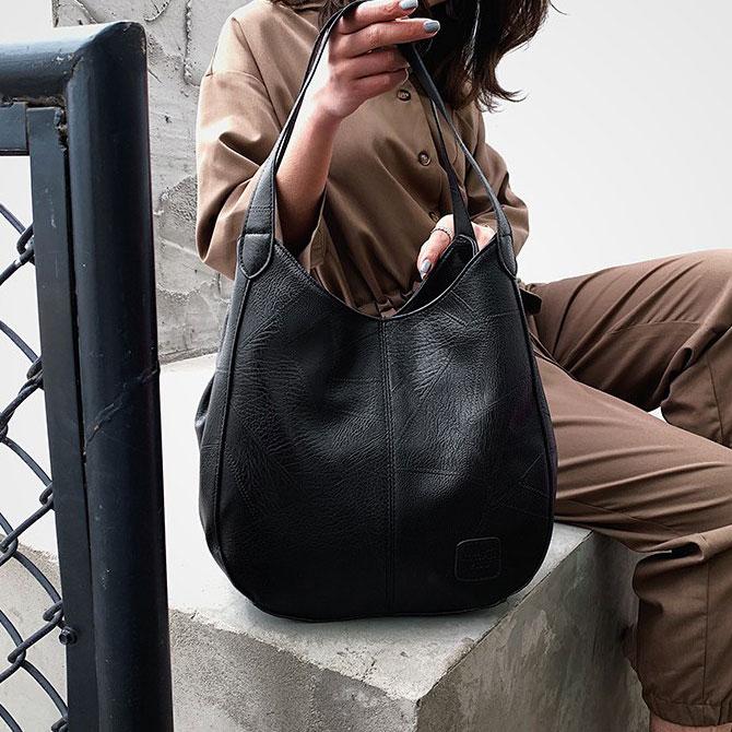 Casual retro bucket tote shoulder bag