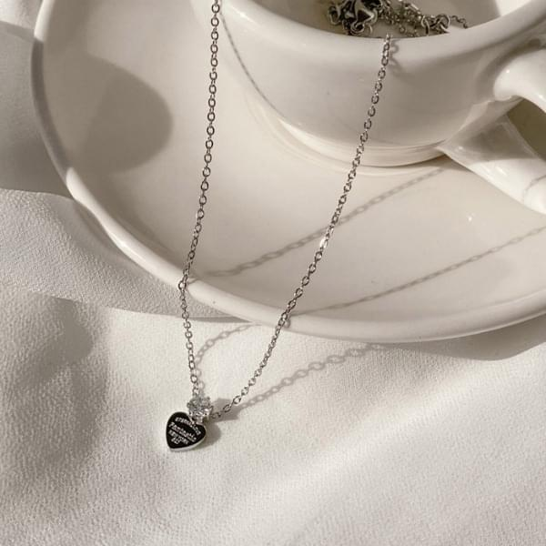 Surgical Cubic Heart Coin Necklace