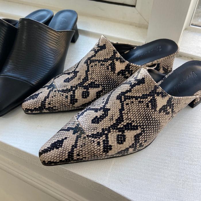 Mannish Python Middle Heel Mule