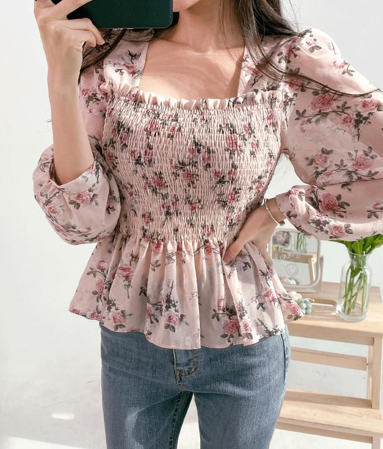 Square Neck Shirred Floral Blouse