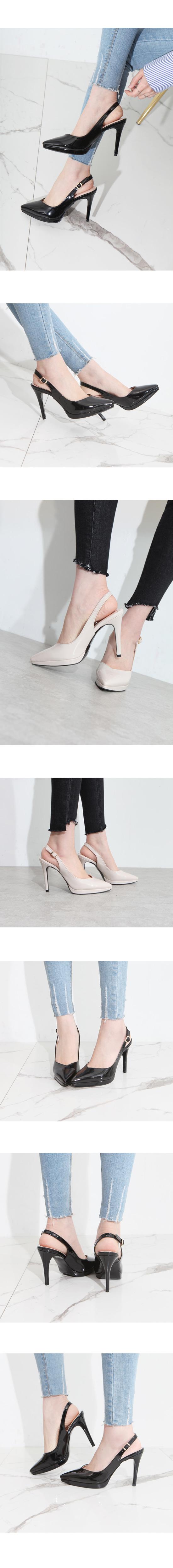 Enamel Slingback Stiletto High Heels Beige