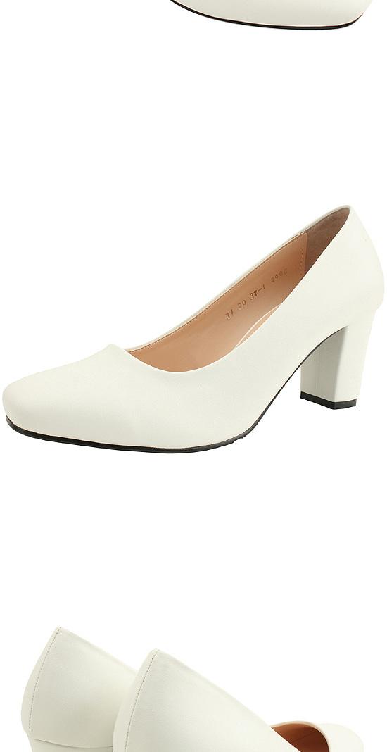 Square Nose Simple High Heel Pumps 7cm White