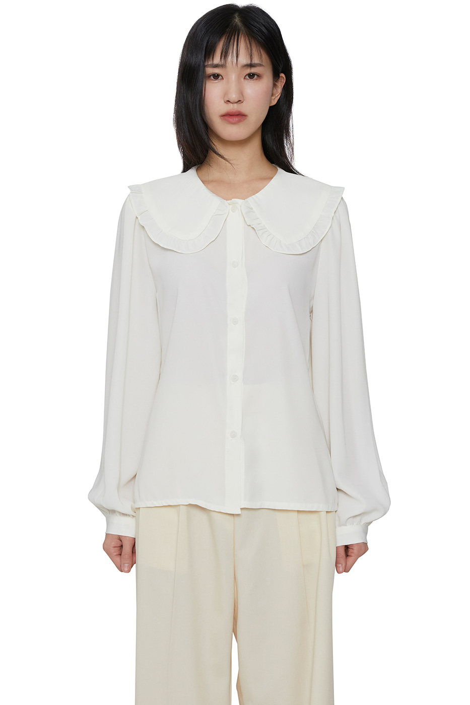 Ruffle point collar blouse