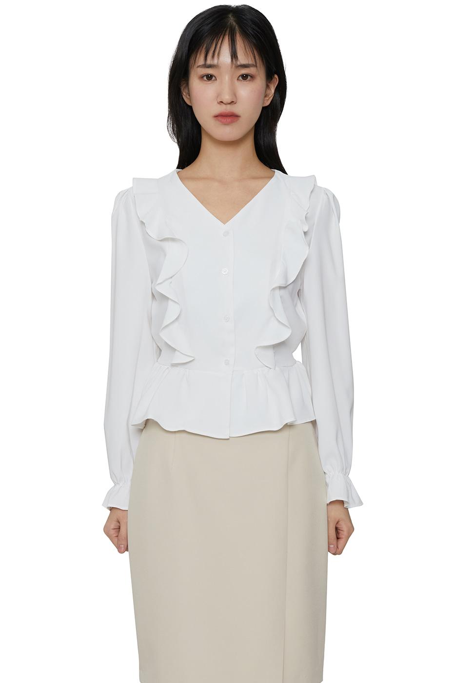 Girls ruffled V-Neck blouse
