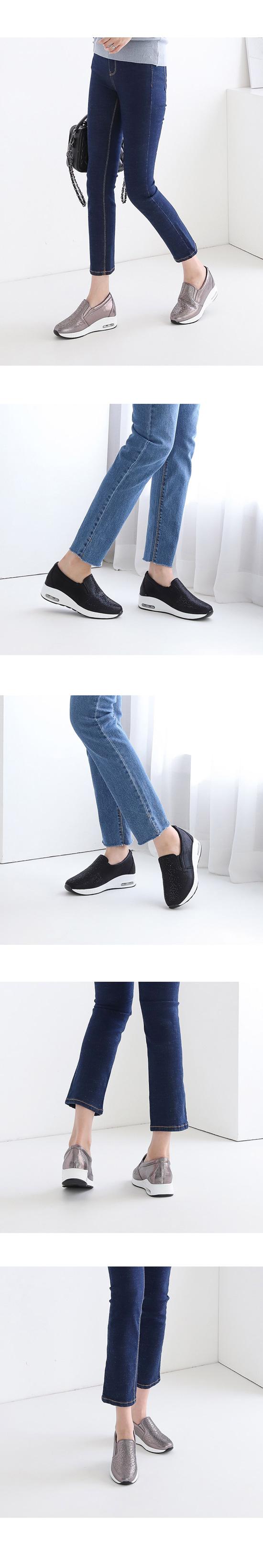 Stone stud slip-on sneakers silver