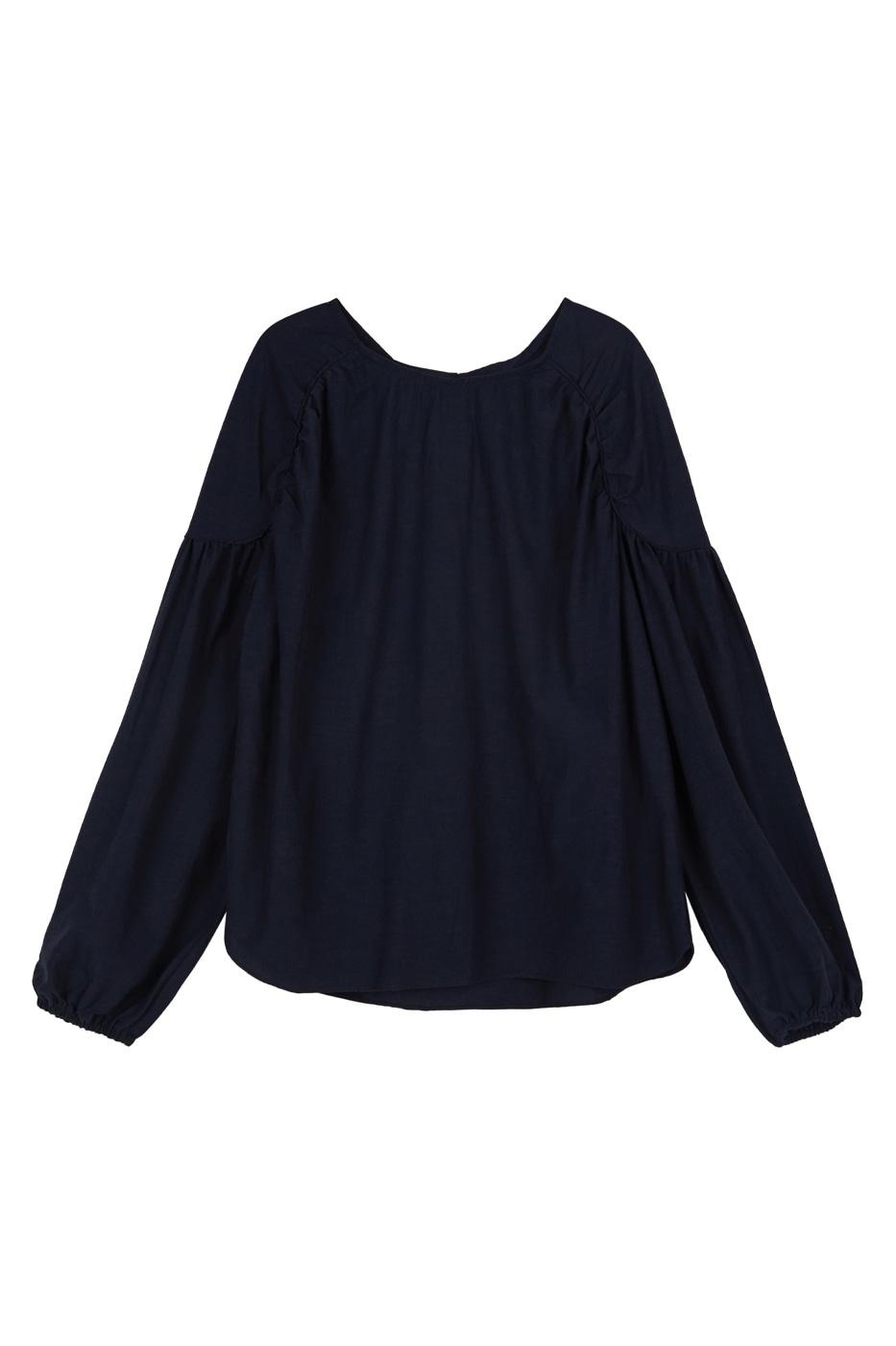 Rail balloon cotton blouse