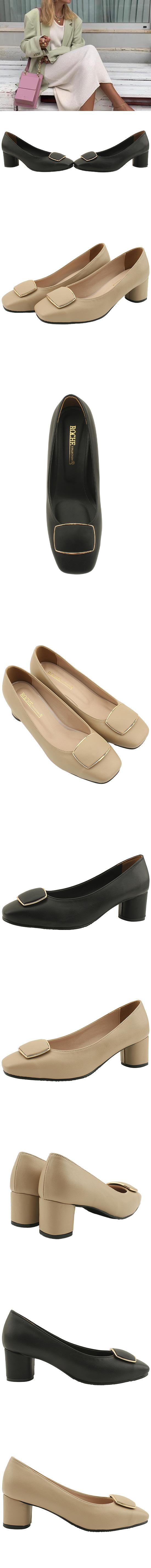 Modern Square Toe Full Heel Middle Heel Shoes Beige