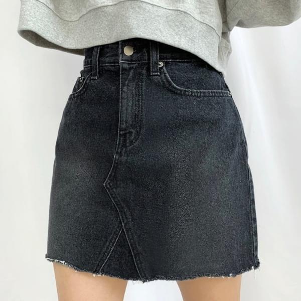 Faded Split skirt Black Denim