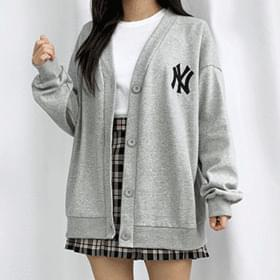 Embroidered lettering Boxy cardigan