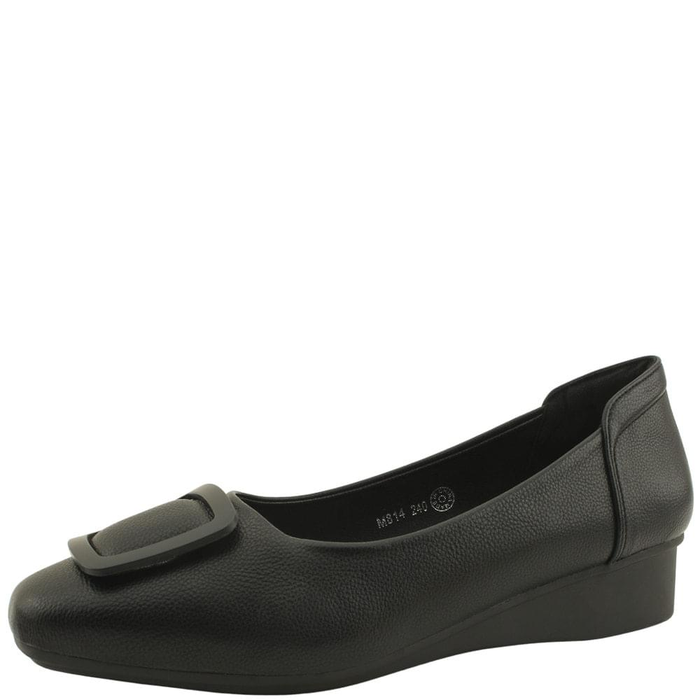 Square Toe Wedge Low Heel Pumps Black