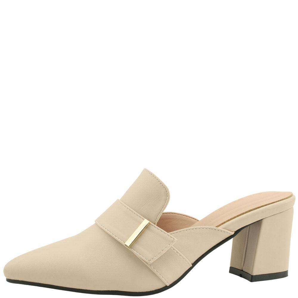 Stiletto metal strap middle heel mules beige