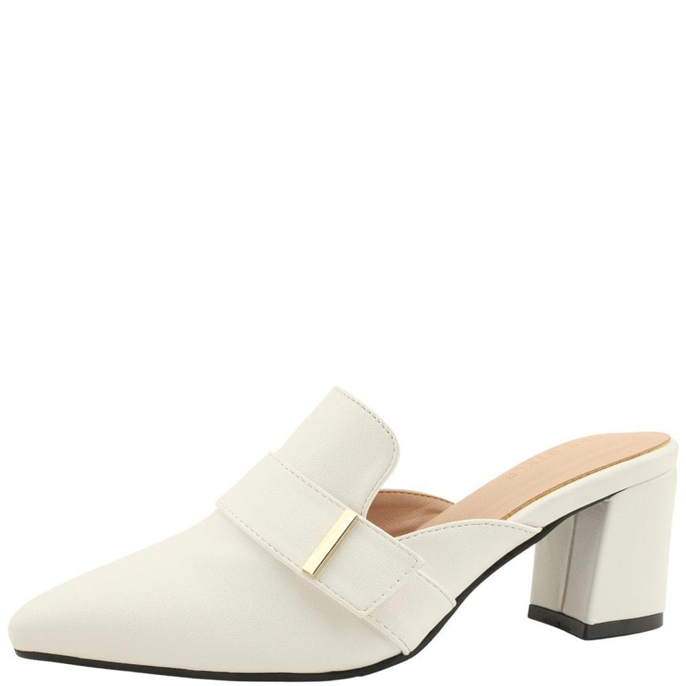 Stiletto metal strap middle heel mules white