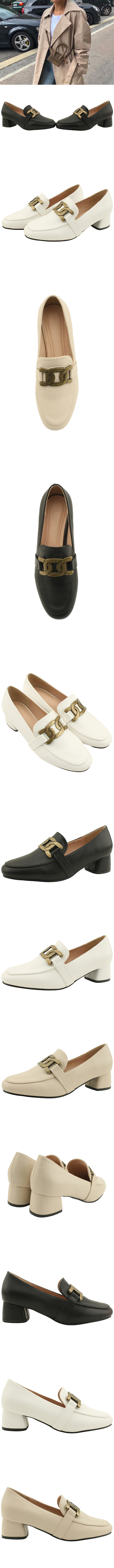 Copper chain classic middle heel loafers beige