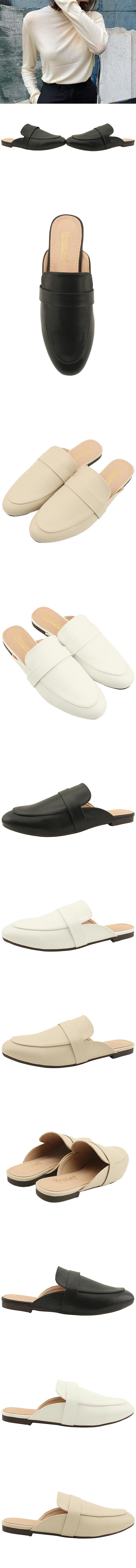 Basic Round Toe Flat Blocker White