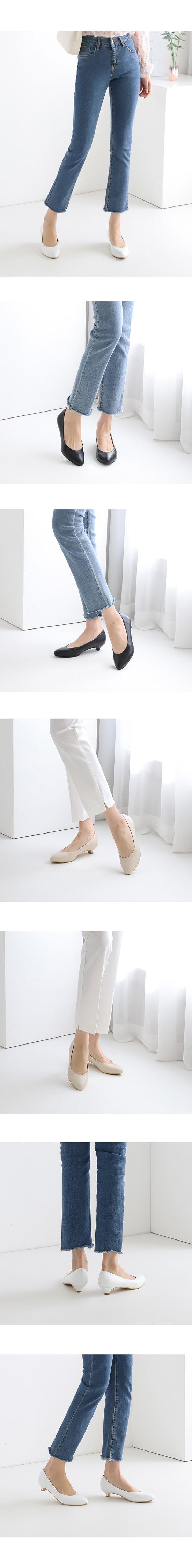 Simple Line Low Heel Pumps 3cm Beige