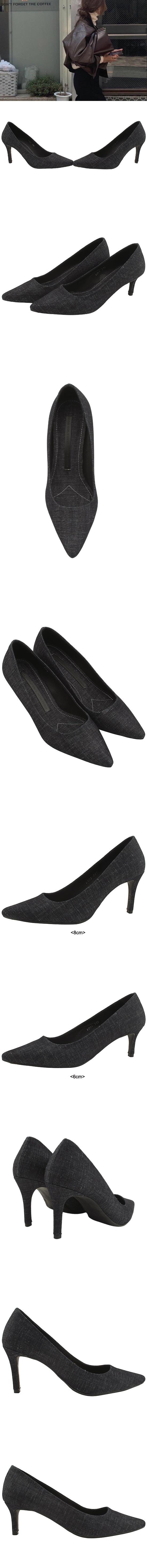 Denim Stiletto High Heels 6cm 8cm Black