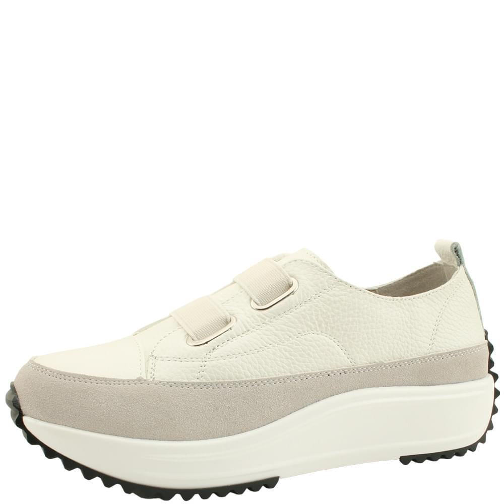 Cowhide Banding Casual Sneakers White
