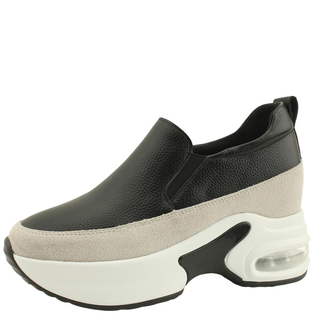 Leather Air Height Sneakers 8cm Black