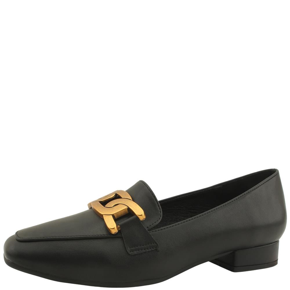 Metal King Chain Square Nose Loafers Black