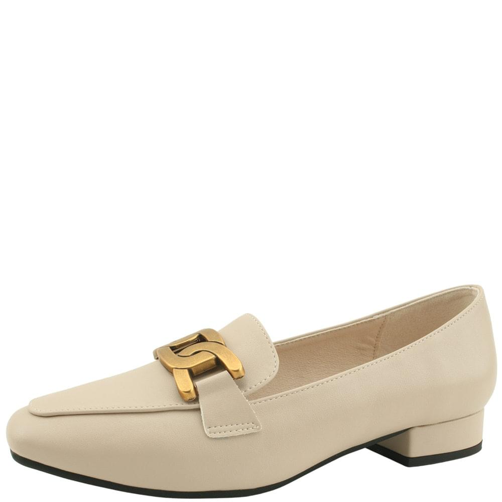Metal King Chain Square Nose Loafers Beige