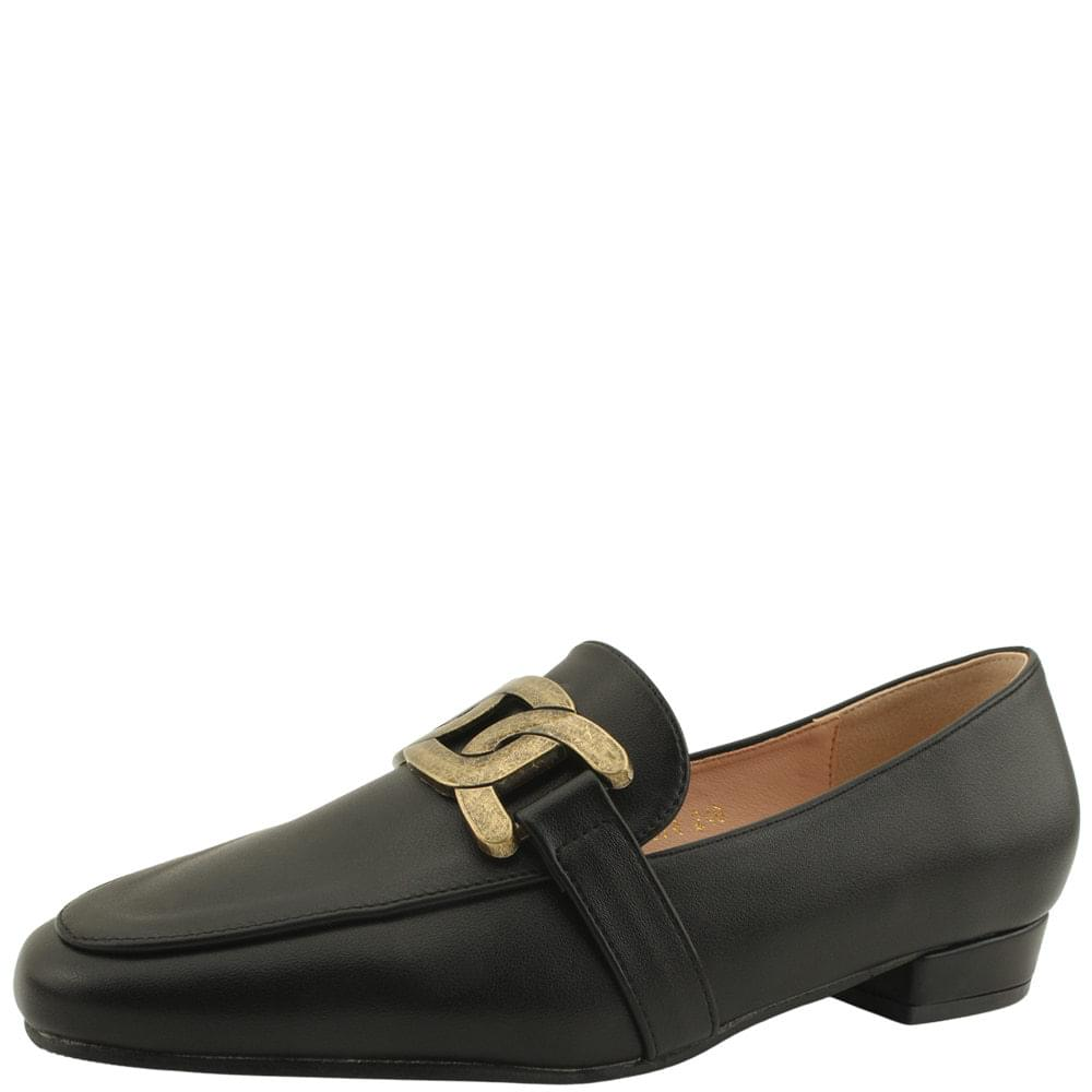 Copper chain classic low heel loafers black
