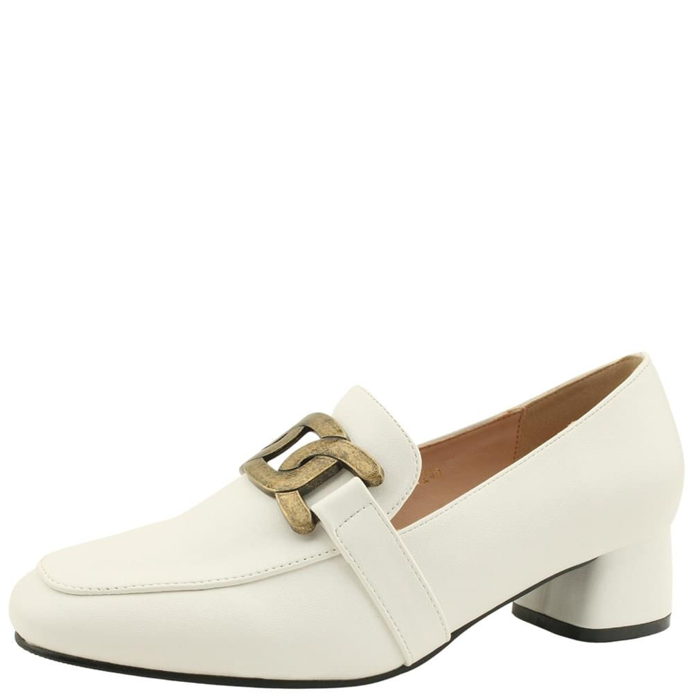 Copper chain classic middle heel loafers white