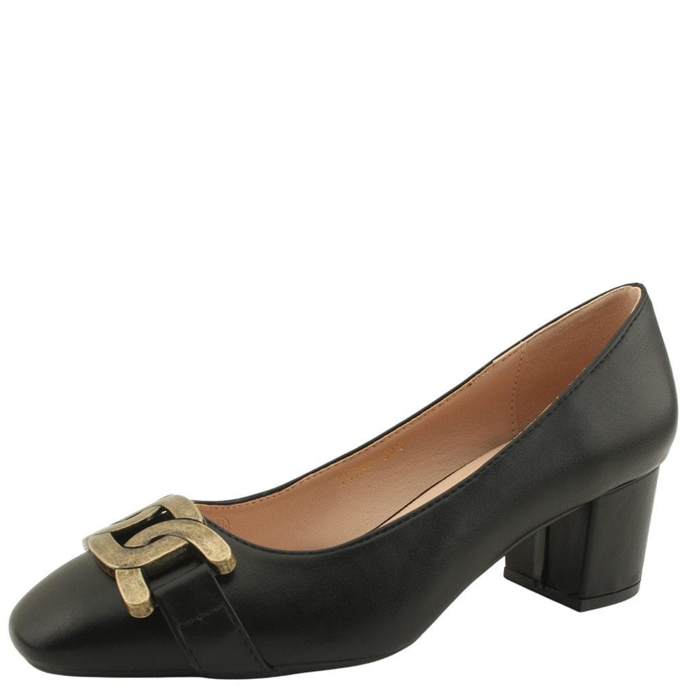 Copper Chain Comfort Middle Heel Pumps Black