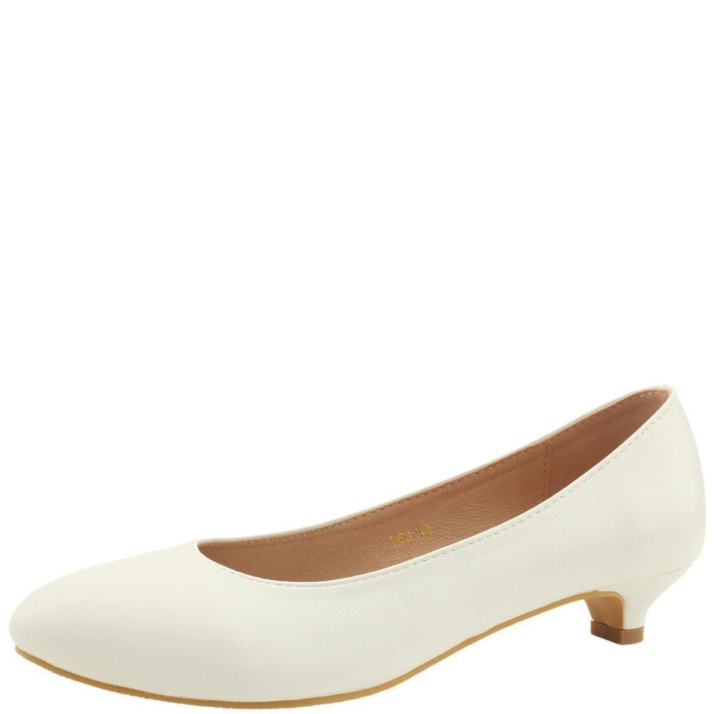 Simple Line Low Heel Pumps 3cm White