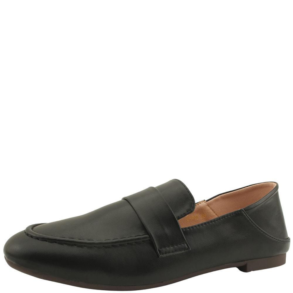 Basic Round Toe Babuche Loafers Black