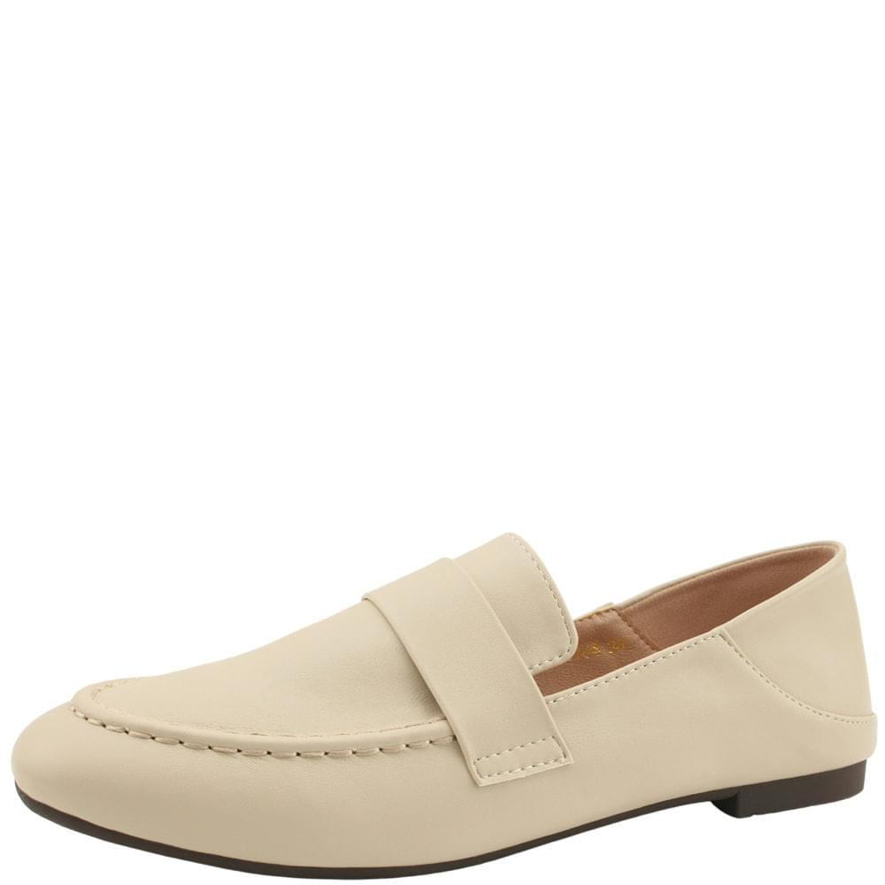 Basic Round Toe Babuche Loafers Beige