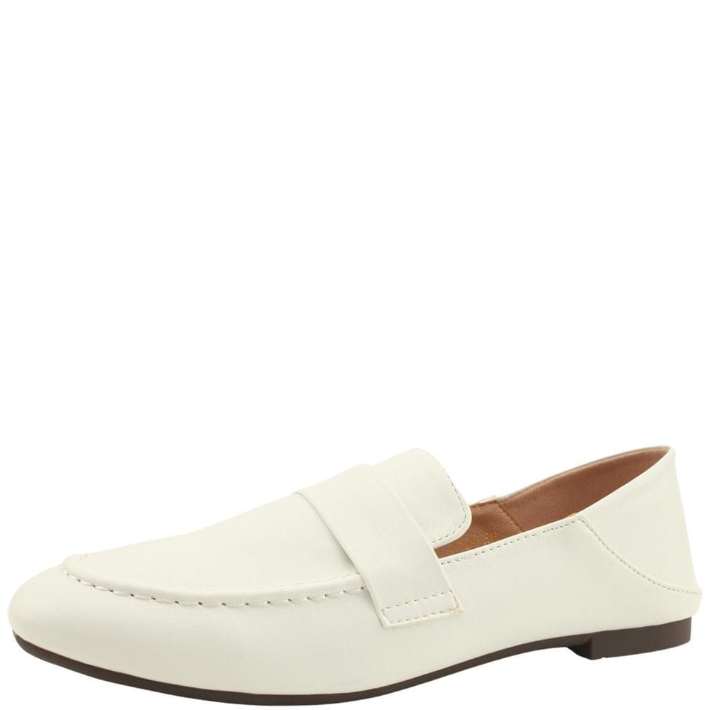 Basic Round Toe Babuche Loafers White