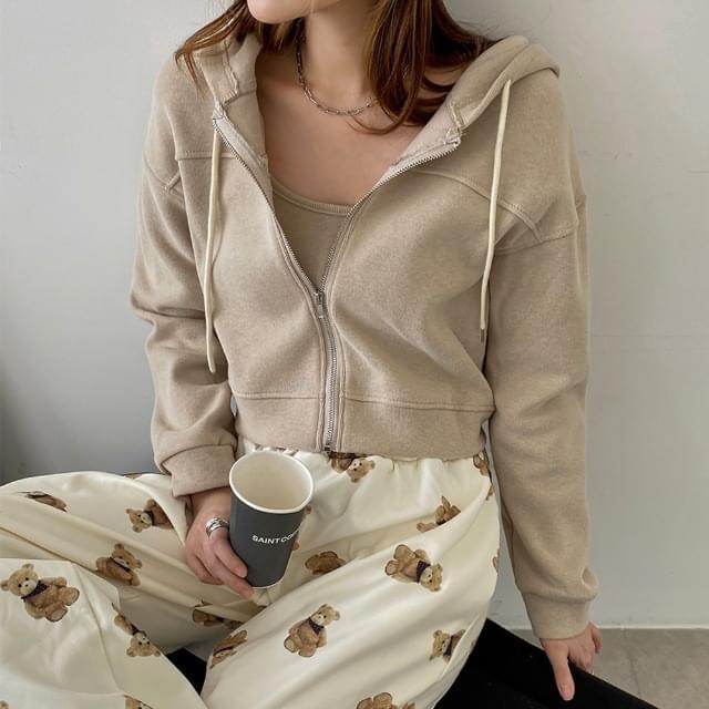 Mo Nikko Fleece-lined hood zip Sleeveless set