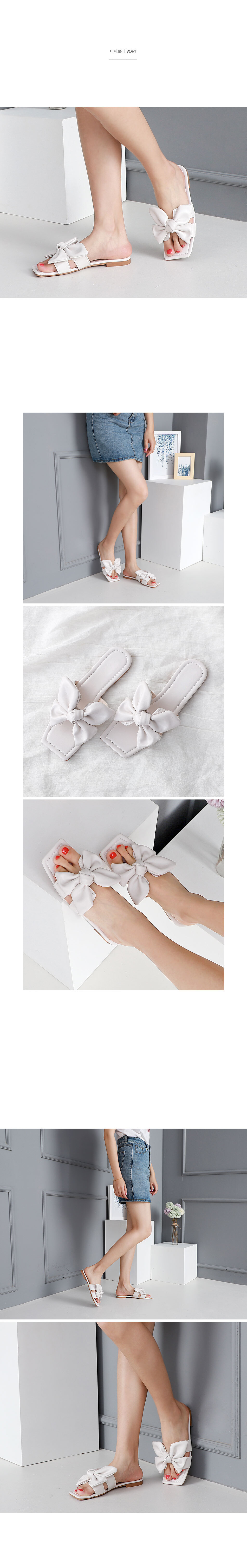 Isshu H type swell ribbon point low heel slippers 10722