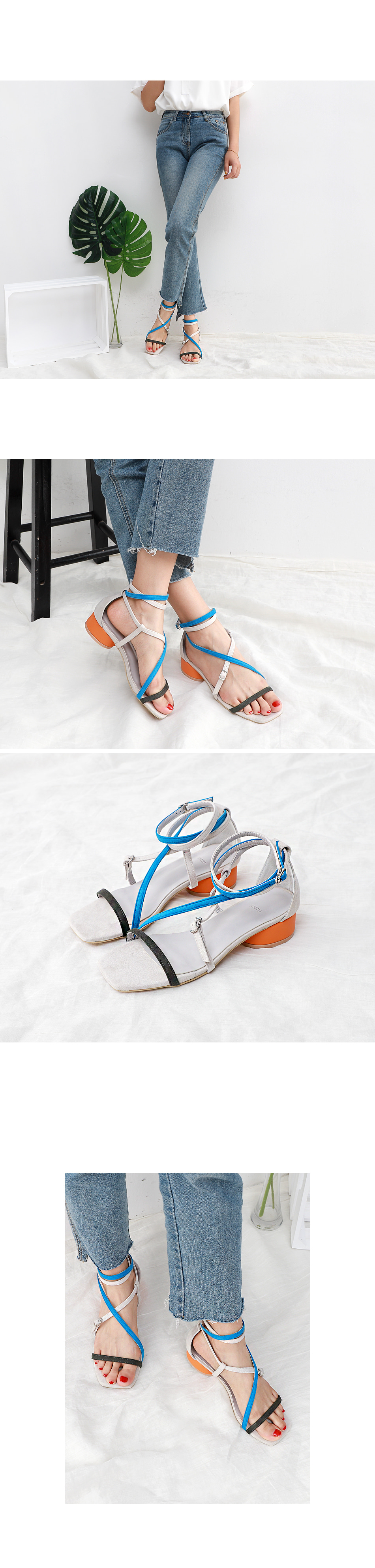 Isshu suede color point strap round heel sandals 5315