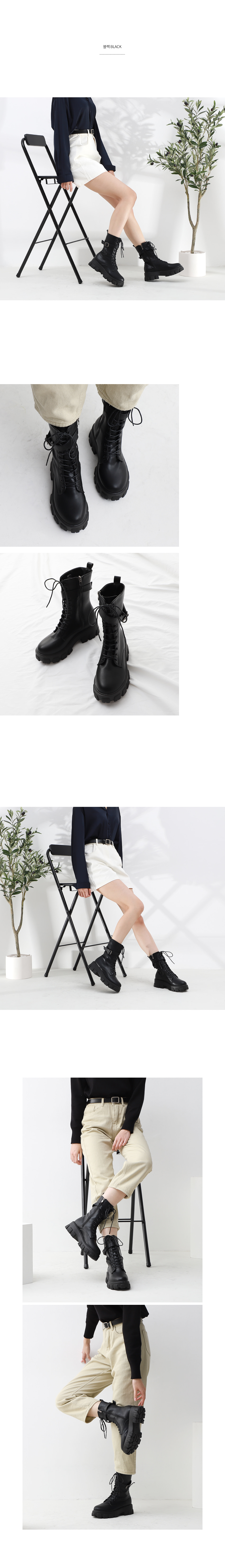 Isshu Round Heel Ankle Buckle Strap Lace-up Lightweight Full Heel Walker Boots 10821 ♡ 1st Edition ♡