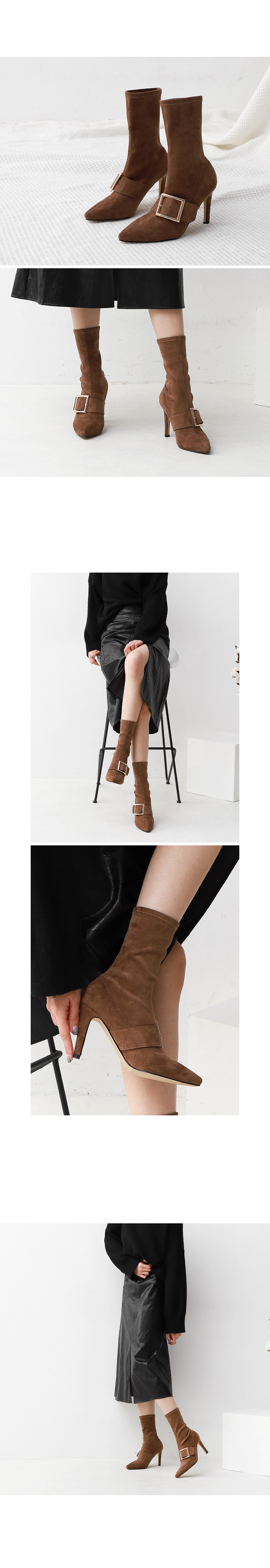 Isshu suede pointed nose buckled Spandex Socks boot heel 1867