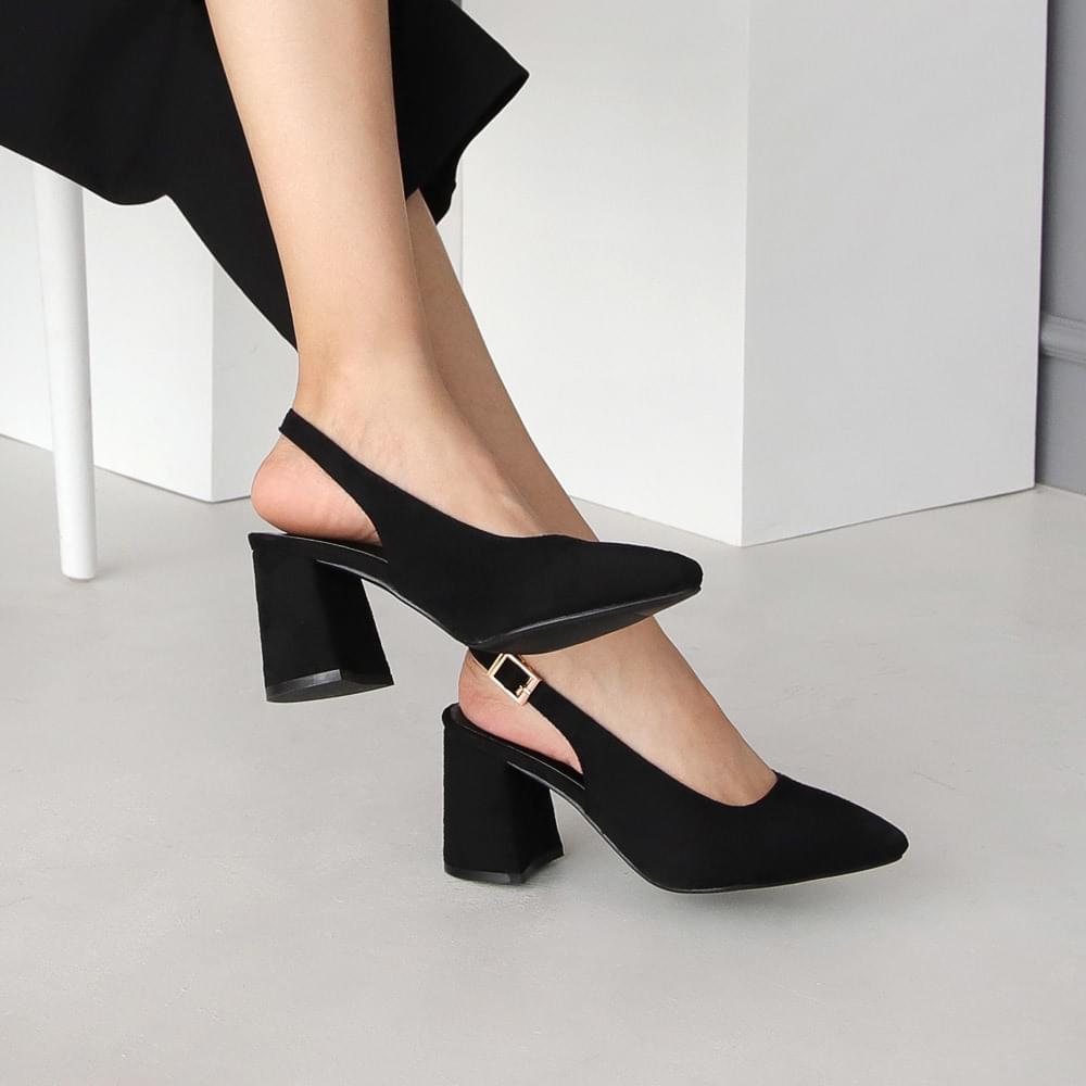 Isshu basic pointed nose chunky heel high heel sling bag 5130