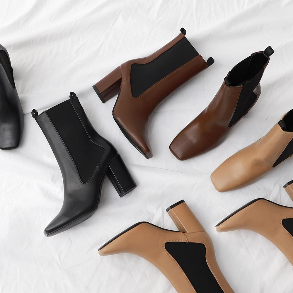 Isshu Square Toe Side Gore Band Chelsea Ankle Middle Boots 5321