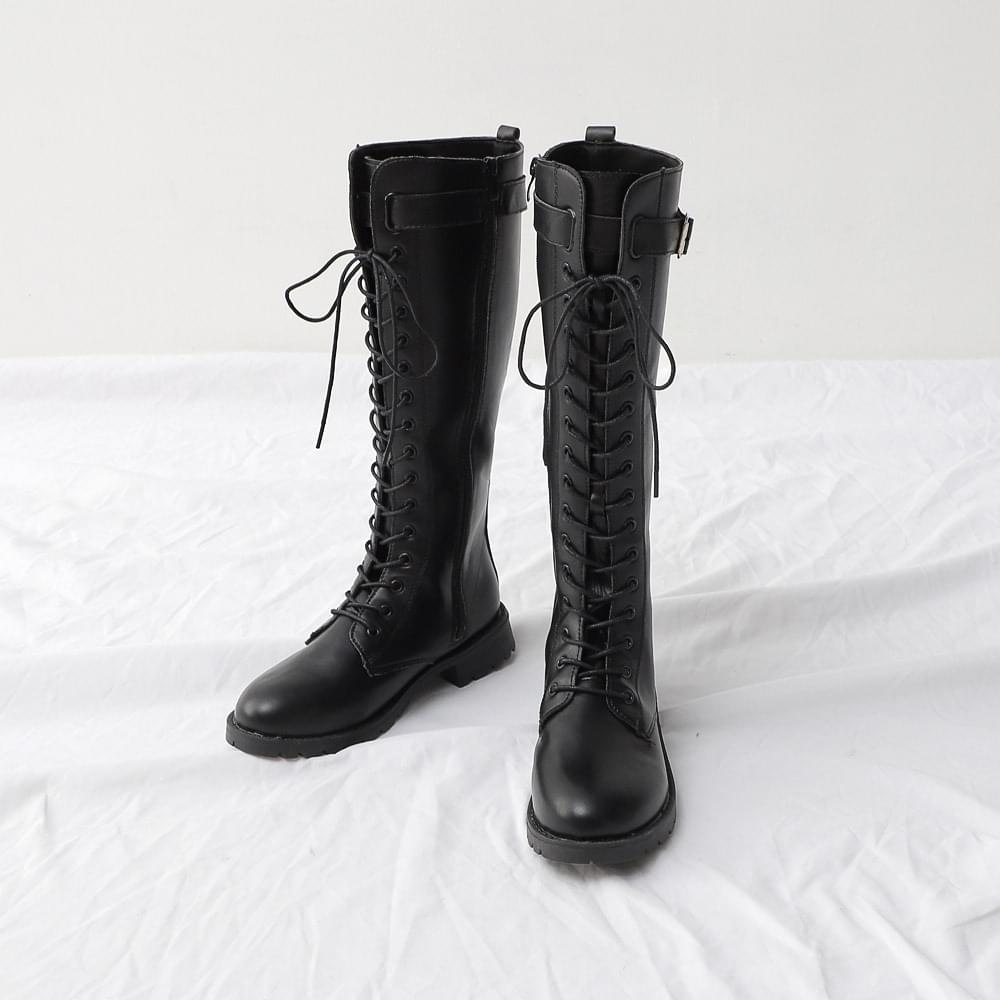 Isshu Lace-up Buckle Strap Side Zip Long Boots 10827
