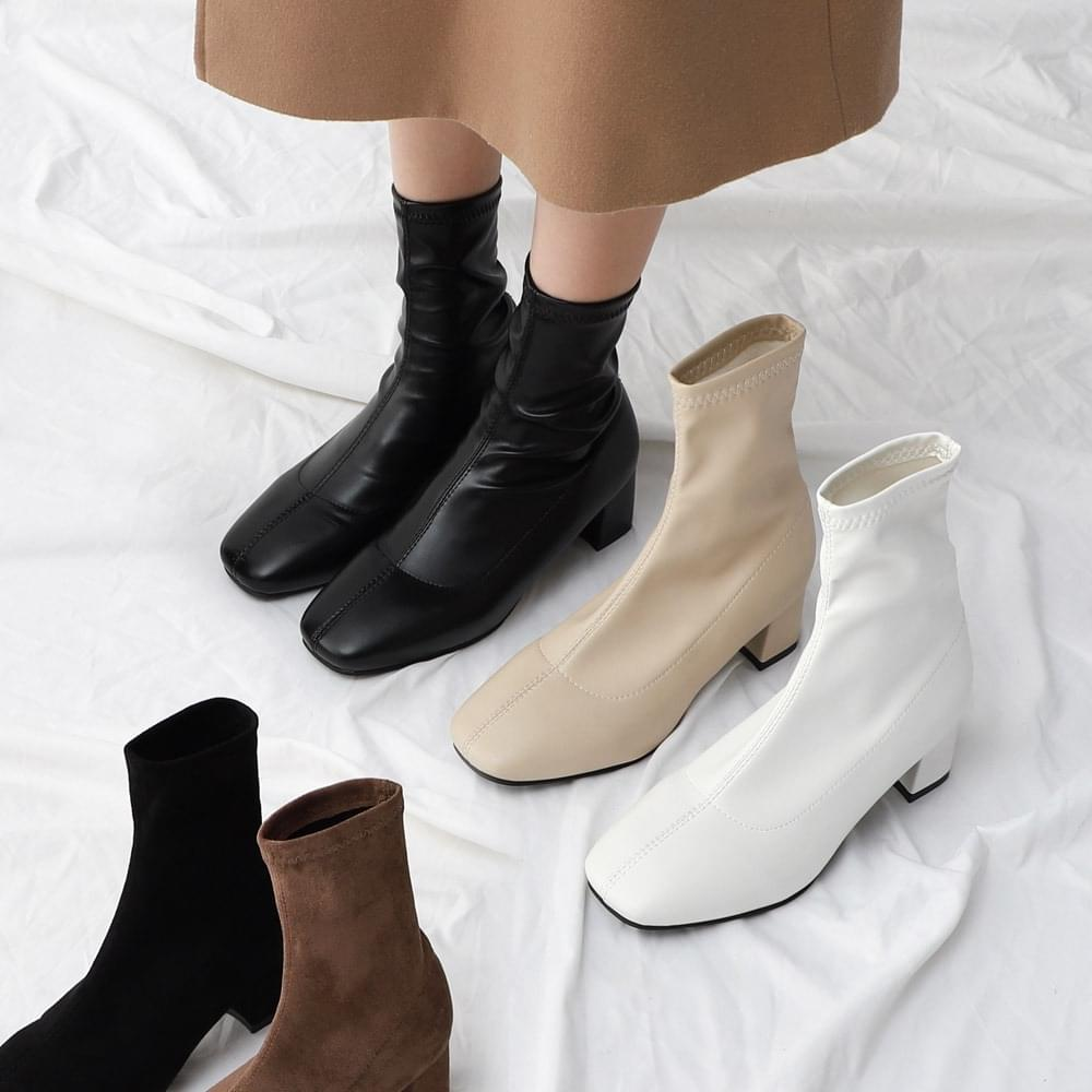 Isshu Two-material square nose Socks boots 9070