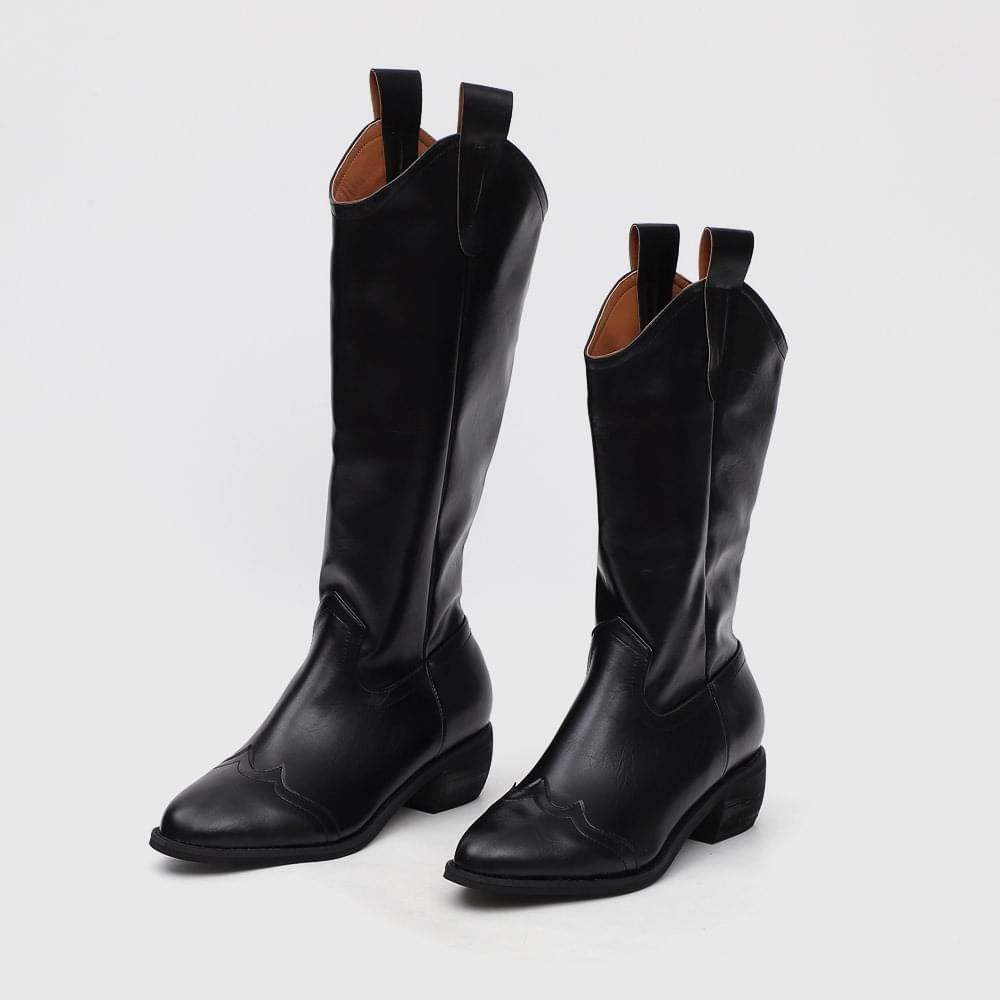 Isshu pointed nose middle & long middle heel western boots 10830