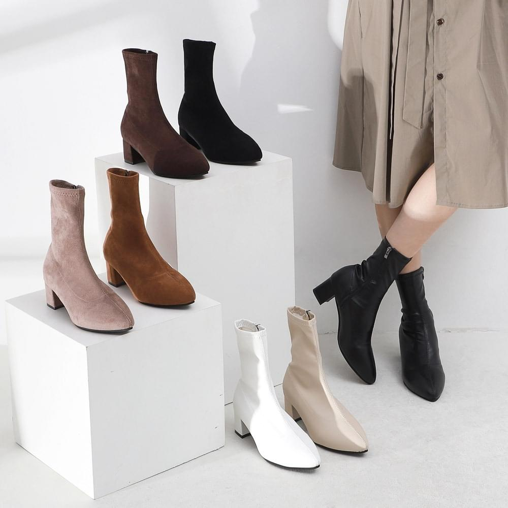 Two Material Pointed Nose Zip Socks Boots 9082