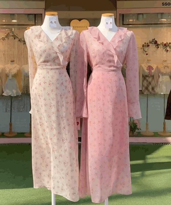 Miko Fine Flower Floral Long Dress 2color