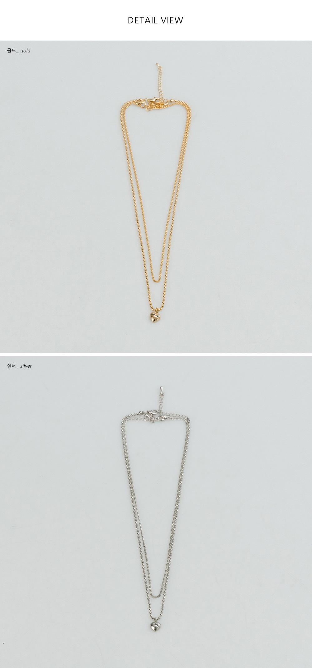 Heart Pendant Layered Necklace Set