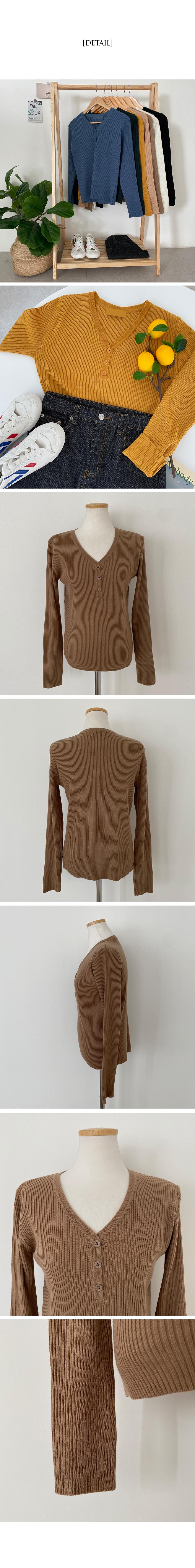 Fiat Ribbed Button V-Neck Knitwear