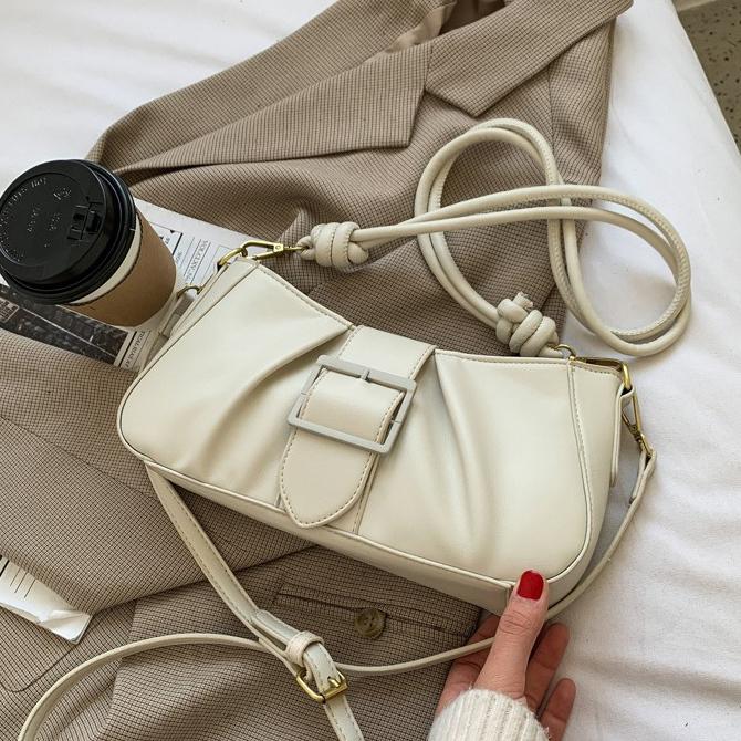 Classic Soft Big Buckle Plain Shoulder Bag