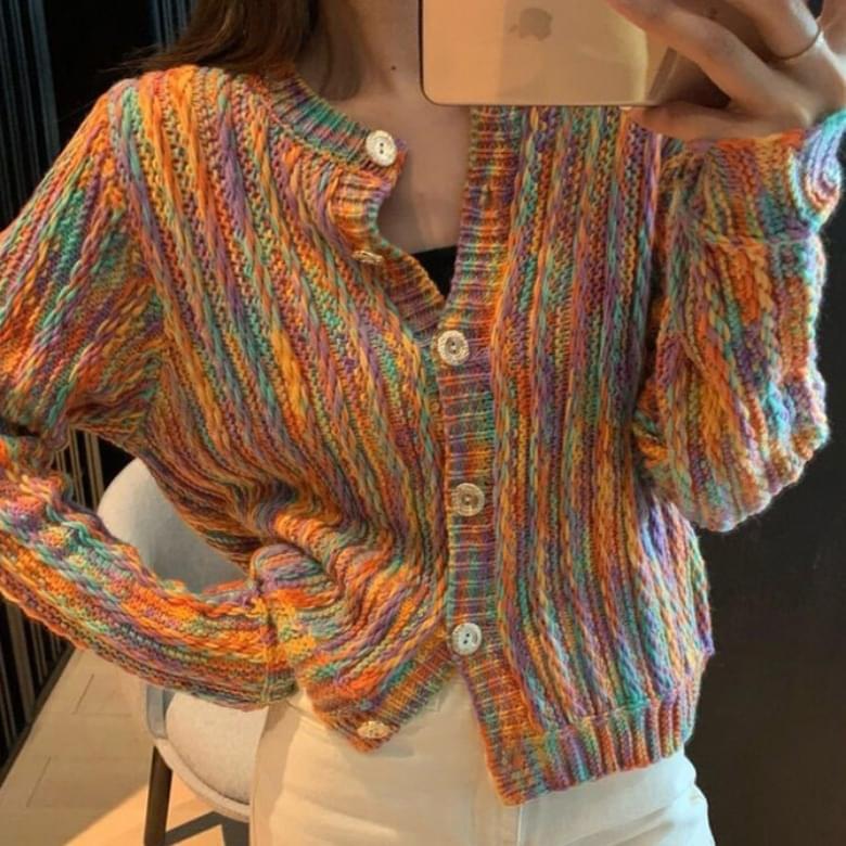 Casual Rainbow Knitwear Sweater Cardigan