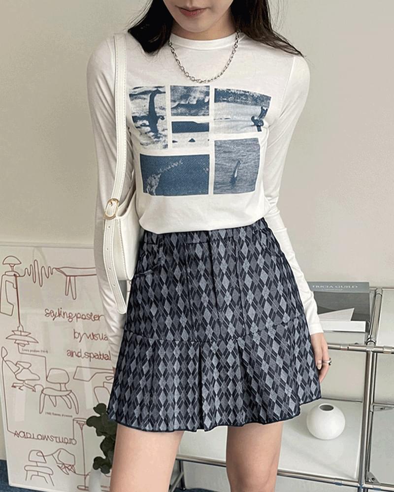 Cartoon argyle pleated denim mini skirt