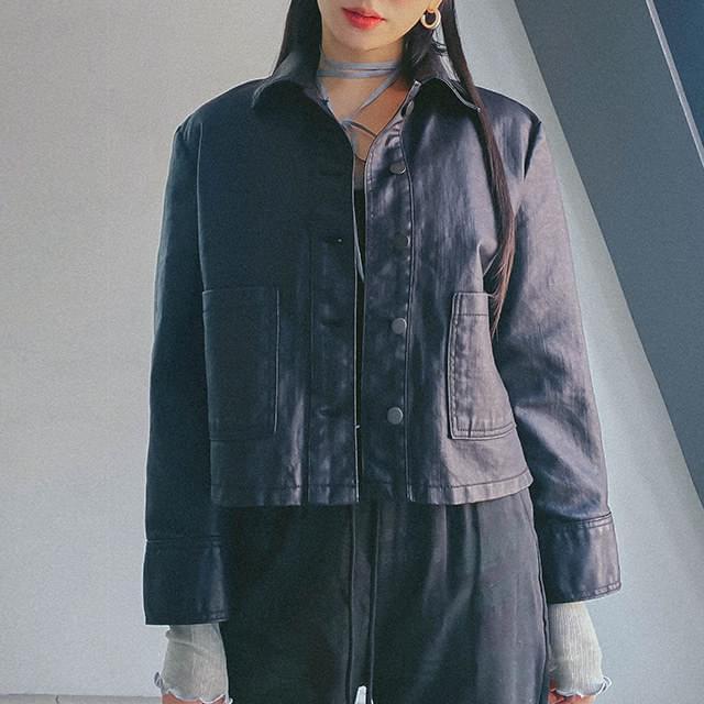 Ter coated crop jacket