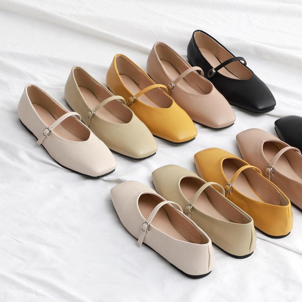 Isshu Square Nose V Cut Slim Mary Jane Strap Flat Shoes 7050